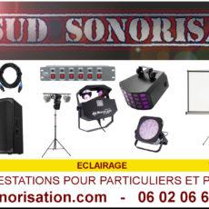 sudsonorisation, location et prestation sonorisation, éclairage et vidéo pour entreprises et particuliers